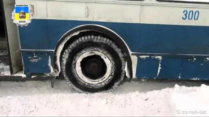 Черкасский троллейбус- Снежный плен 08.01.2016