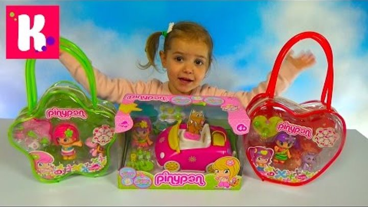 Куклы Пинипон и животные с машинкой распаковка Piny Pon dolls with car and pets unboxing toys