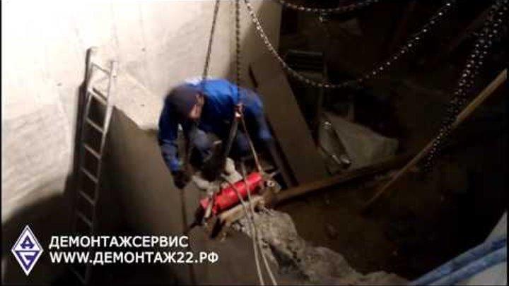 Демонтаж железобетонной стены гидрокусачками в Барнауле