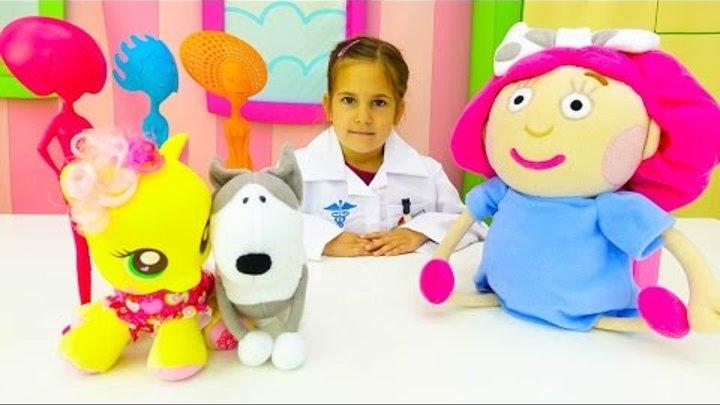 Май Литл Пони и Смарта в больничке. Видео куклы и игрушки Кати. Игры больница для детей