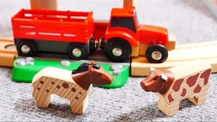 Видео для детей. Поезда и Машинки. Строим новый мост Брио. Трактор едет на ферму