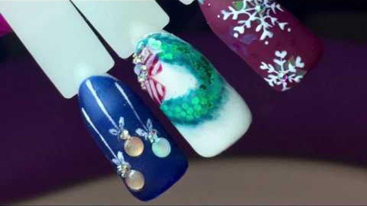 Новогодний дизайн ногтей. Новогодний маникюр. Новогодние игрушки