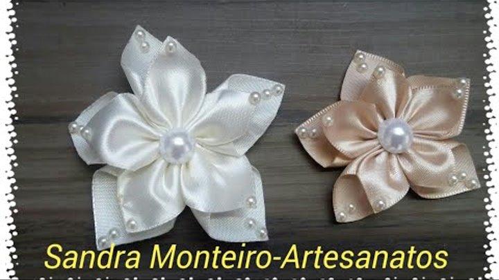 Como fazer flor de fita de cetim, muito fácil, passo a passo 2017, DIY- Sandra Monteiro,2017