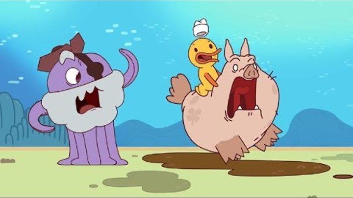 Новые мультики для детей - Капитан Кракен - Свинья-талисман + Глупость - Смешные мультфильмы