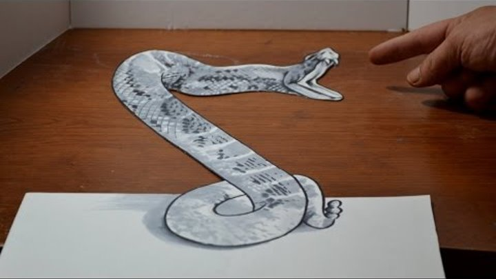 Drawing a 3D Rattlesnake - Cool Anamorphic Trick Art Optical Illusion