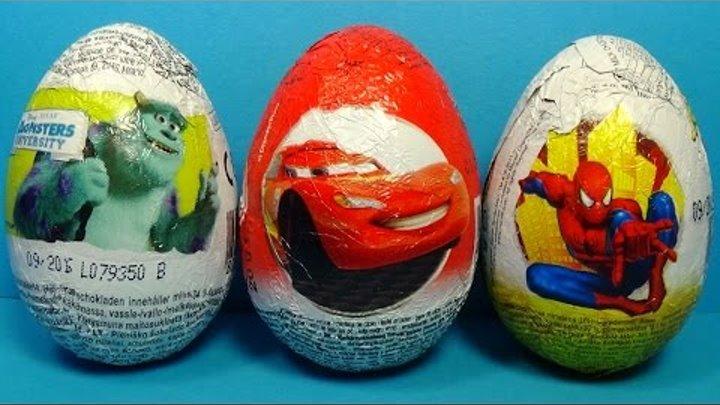 3 surprise eggs unboxing Disney Pixar Cars MARVEL Spider Man Disney Monsters University MymillionTV