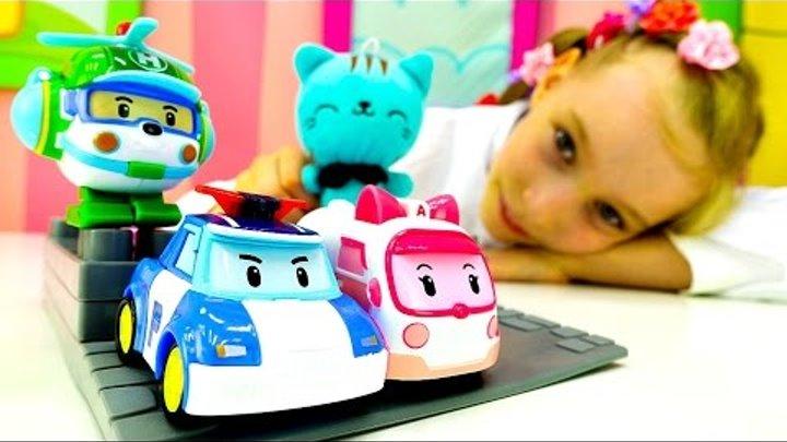 Игры Поли Робокар для детей. Видео игрушки в больничке. Доктор Катя лечит котёнка Котю