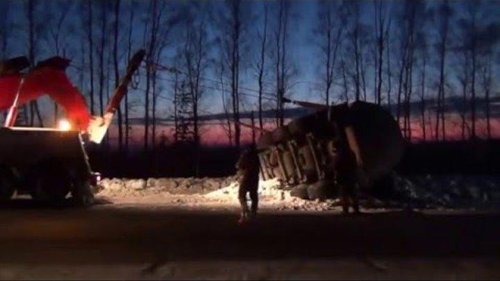 Грузовой эвакуатор в Красноуфимске Подъем груженой бочки с битумом Вес более 40 тн