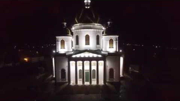 Моршанский собор ночью (съемка с воздуха)