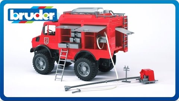 Bruder Toys MB Unimog Fire Rescue Truck w. Accesories and Light & Sound Module #02480