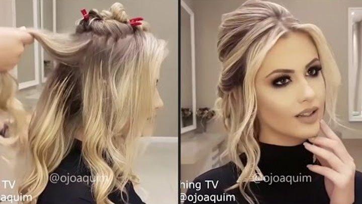 ПОДБОРКА!😺 10 очень красивых праздничных причесок для длинных волос! 👌😍