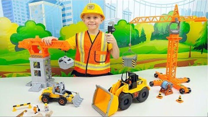 Рабочие машинки ПОГРУЗЧИКИ и Строитель Даник - Видео про машинки для детей - КОРЗИНА ИГРУШЕК