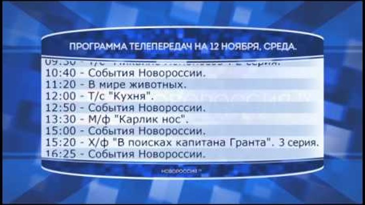 """Программа телепередач канала """"Новороссия ТВ"""" на 12.11.2014"""