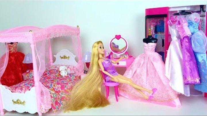 Барби Рапунцель утро рутина дом для кукол Видео для девочек