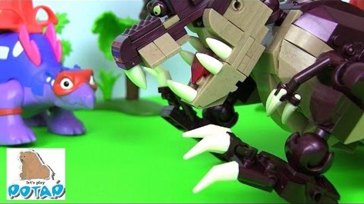 Dino Ride! Mega Bloks Миньоны Мультик. Игрушки для Детей. Игры для Детей. Мультики про Динозавров