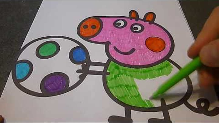 Свинка Пеппа мультфильм Раскраска, Рисуем Свинку Пеппу учим цвета