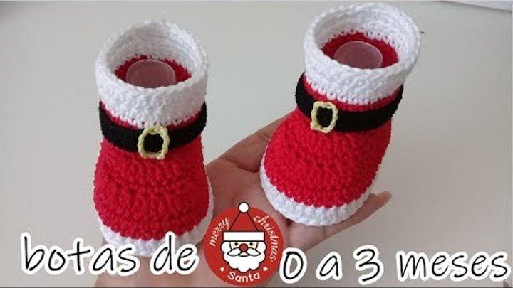 botas de santa claus para bebe a crochet -0 a 3 meses