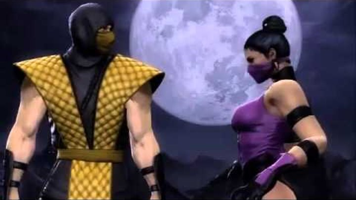 MK9 Scorpion and Mileena retro costumes - MK9 Gamestop Ad with classic skins Mortal Kombat 2011