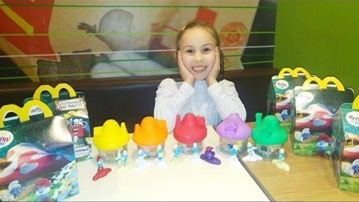 5 игрушек Хеппи Мил Смурфики с домиками , Макдональдс McDonald's Happy Meal The Smurfs 3