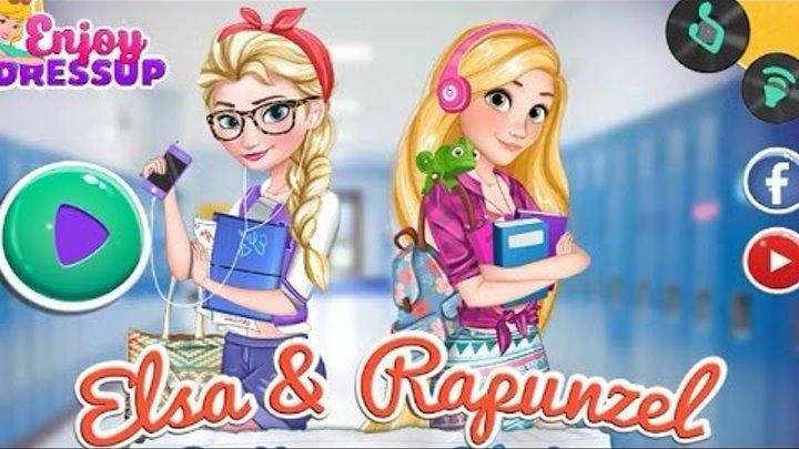 NEW Игры для детей—Disney Принцесса Рапунцель и Эльза в колледже—мультик для девочек