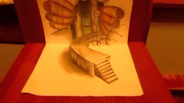 Amazing anamorphic illusion. 3D drawings on paper 3D рисунок на бумаге