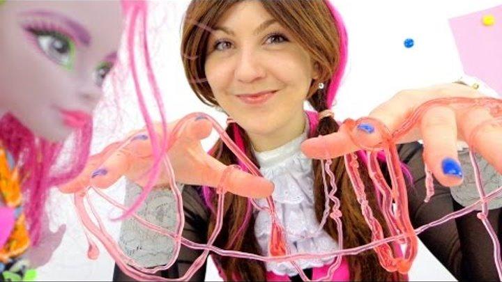Видео для девочек. Устрашающее творчество: полимерные червяки. Куклы Монстр Хай