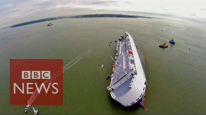 Hoegh Osaka: Drone video of stranded cargo ship