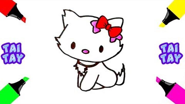 раскраски для детей Hello Kitty кошечка учимся рисовать