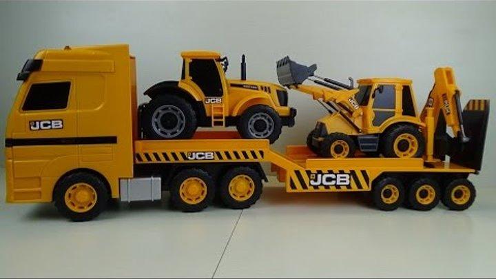 Машинки. Транспортировщик с экскаватором погрузчиком и трактором JCB Игрушка
