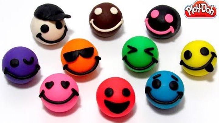Играем и учим цвета на английском языке с Play-Doh смайликами и морскими формочками.