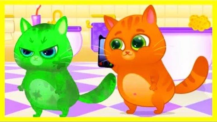 Котик Bubbu Котофей – игровой мультик для детей. Котик готовит кушать! My Virtual cat Bubbu