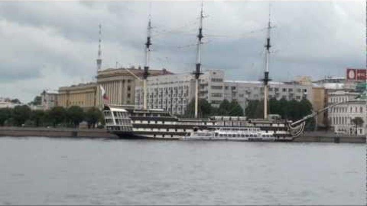 Cruise along Neva river in St. Petersburg. Part 1.