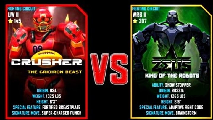 Real Steel WRB FINAL CRUSHER VS ZEUS (Champion) NEW ROBOT (Живая Сталь)