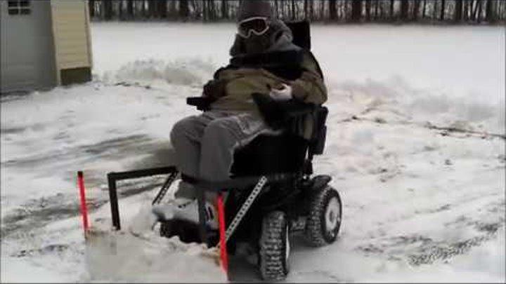 4 X 4 Wheelchair Snowplow Plowing Snow Video