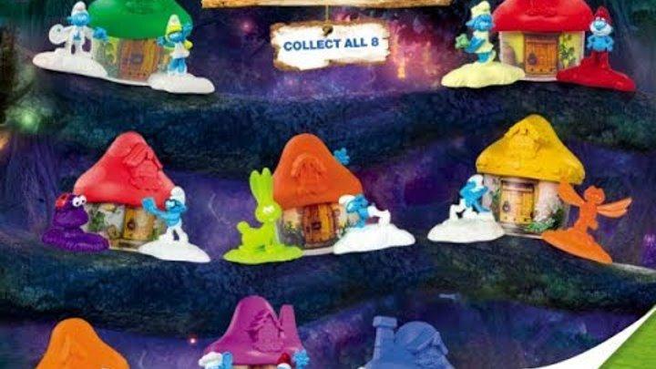 Идем в Макдональдс Хэппи мил 3 домика с игрушками Смурфики выбираем игрушки и гуляем