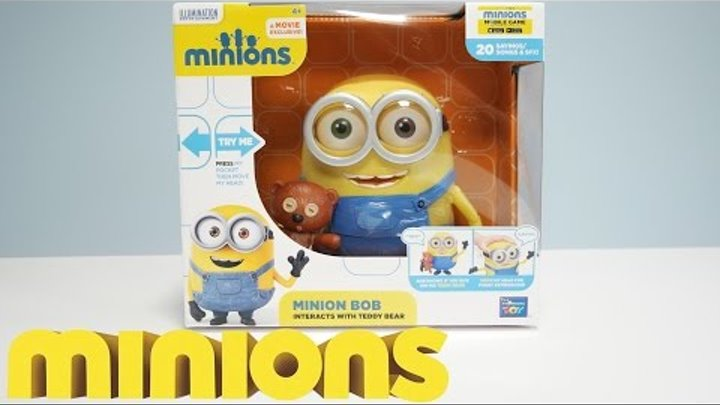 """MINION BOB WITH TEDDY BEAR - 8"""" ACTION FIGURE - New 2015 Minions Movie Exclusive Toys"""