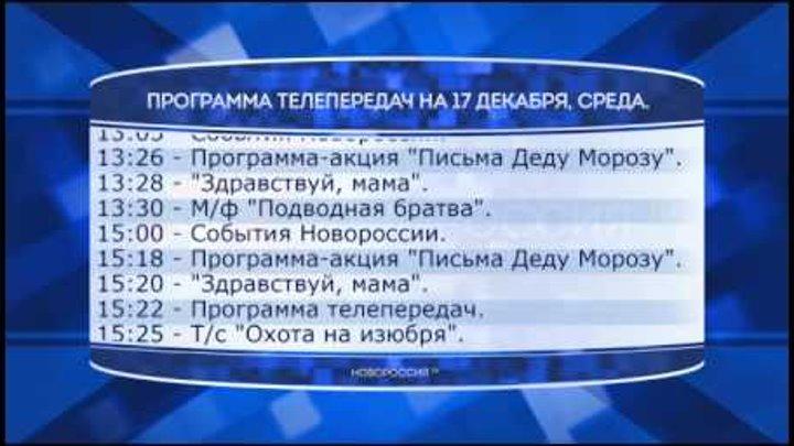 """Программа телепередач канала """"Новороссия ТВ"""" на 17.12.2014"""