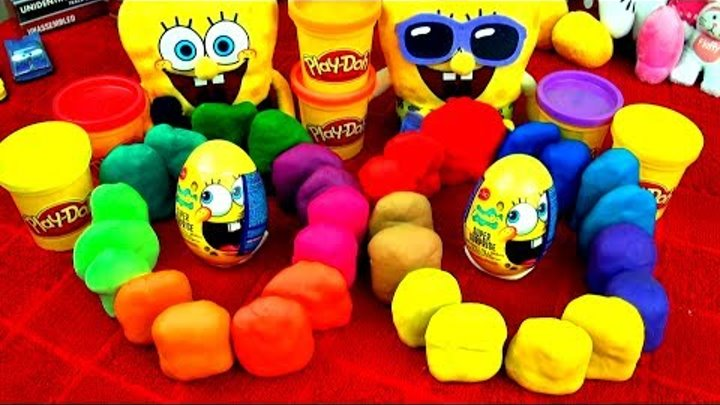 30 Playdoh Surprise Eggs SPONGEBOB Angry Birds Spiderman Dora Disney Pixar Cars Toys Toy Story Shrek