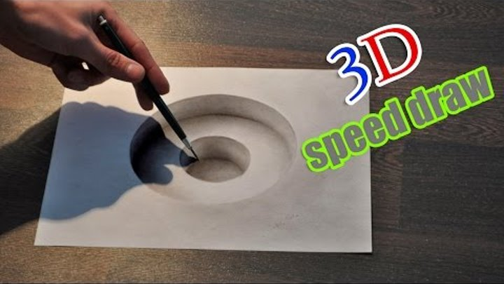 Drawing 3D hole/ Illusion anamorphic painting