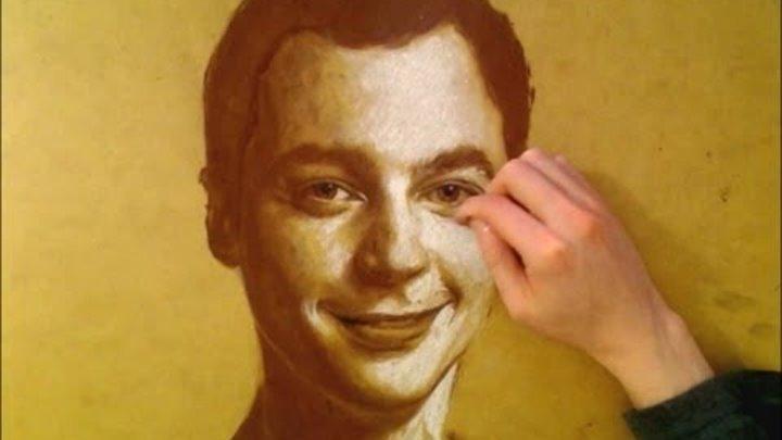drawing SHELDON - Big Bang Theory portrait - Pastel on wood