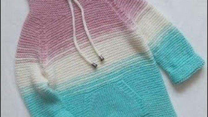 Реглан спицами сверху, росток спицами сверху, кофта спицами, свитер спицами 2 часть