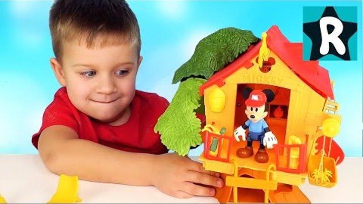 ПОЖАР В ЛЕСУ Микки Маус Домик и Пожарная Машина Mickey Mouse Clubhouse Disney Fire Truck Mickey Toys