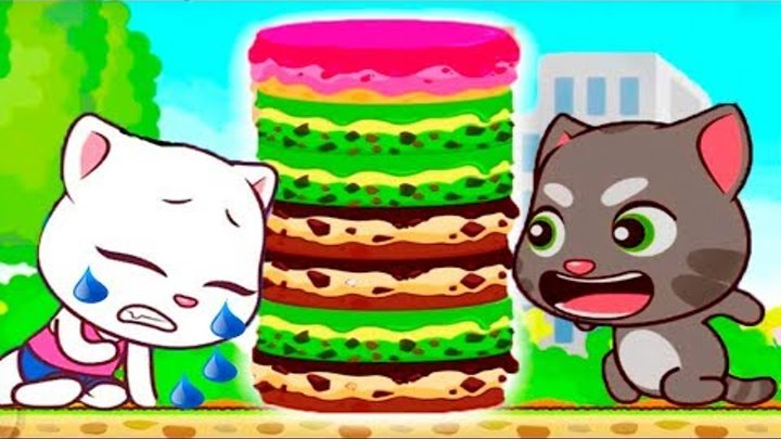 ГОВОРЯЩИЙ ТОМ минимульты ВКУСНАЯ БАШНЯ Тома #1 ДРУЗЬЯ! Игровой мультик Talking Tom Cake Jump