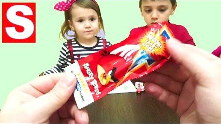 Энгри Бердс Светящие палочки и яйца Киндер Сюрприз 2016 Маша и Медведь