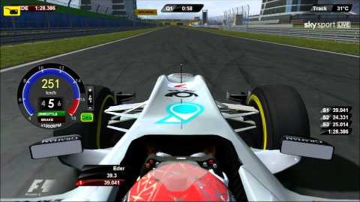 F1 2011 India Q1 SCHUMACHER Onboard DRS and KERS IN New Delhi : Eder Belone