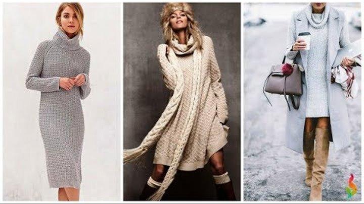 С чем носить вязаные платья фото 50 модных идей, новинки зима-весна 2018 Вязаная мода и стиль