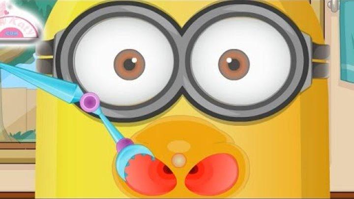 NEW Игры для детей—Disney Принцесса Миньон лечит нос—мультик для девочек