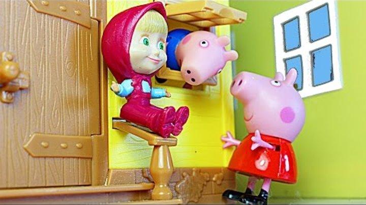 Свинка Пеппа Маша и Медведь Мультфильм для детей Пеппа Джордж и Маша открывают киндер сюрпризы Peppa
