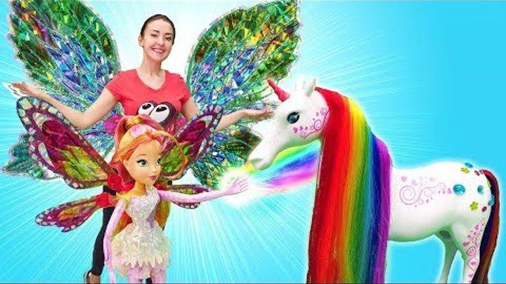 Winx! Куклы Винкс Блум, Стелла и Флора ищут единорога! Игры для девочек про волшебство