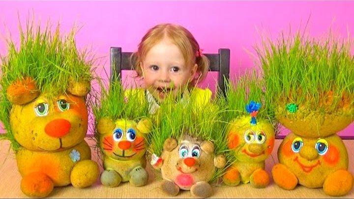 Живая детская игрушка Травянчик. Трава растет прям на голове. Подстригаем и делаем прически. Toys